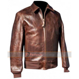 Happy Days Fonzie Bomber Brown Leather Jacket