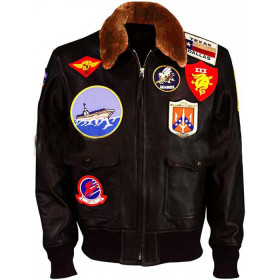 Tom Cruise Top Gun Flight Bomber Leather Jacket With Patches