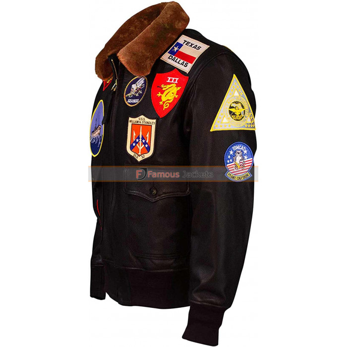 4a39454109c Tom Cruise Top Gun Flight Bomber Leather Jacket With Patches