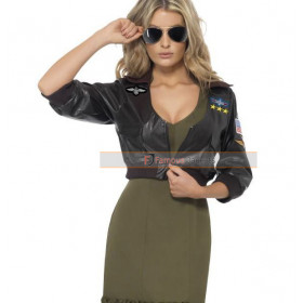 Top Gun Womens Bomber Black Leather Jacket Costume