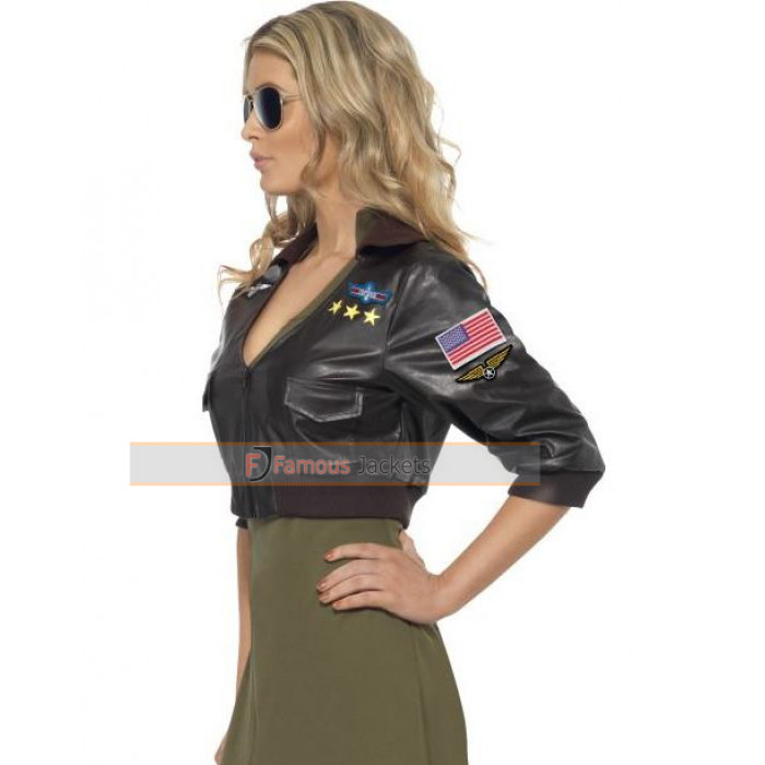 Gun Womens Bomber Black Leather Jacket Costume