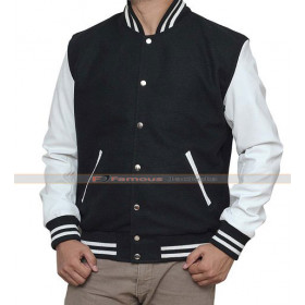 White And Black High School Letterman Bomber Jacket