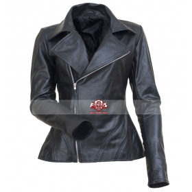 Fashion Show Anne Hathaway Black Motorcycle Jacket for Women