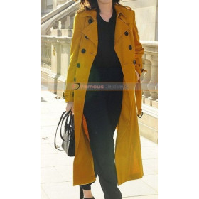 Anne Hathaway Chic Yellow Trench Coat London