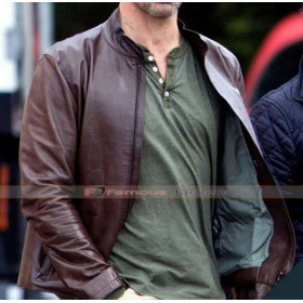 Baby Driver Jon Hamm (Buddy) Brown Leather Jacket