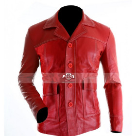 Fight Club Brad Pitt Red (Tyler Durden) Leather Jacket