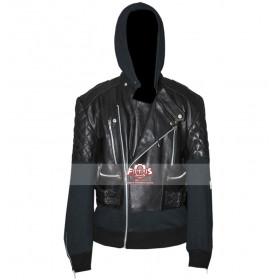 Chris Brown Black Bomber Hooded Leather Jacket