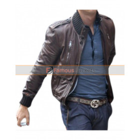 Cristiano Ronaldo Brown Leather Bomber Jacket