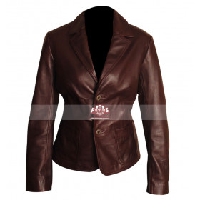Slim Fit Dark Brown Ladies Leather Blazer