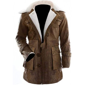 Dark Knight Rises Bane Fur Trench Leather Coat