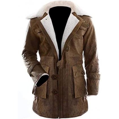 Dark Knight Rises Bane Fur Trench Leather Coat