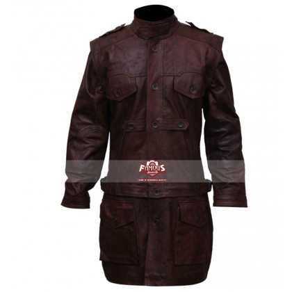 Defiance Grant Bowler (Nolan) Distressed Brown Trench Coat