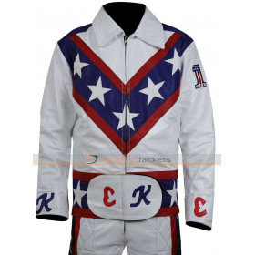 Evel Knievel Motorcycle White Leather Jacket - Costume