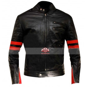 Fight Club Hybrid Mayhem Red Stripe Biker Jacket
