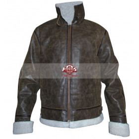 Green Distressed Shearling Winter Flying Leather Jacket