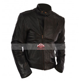 Iron Man 1 Tony Stark (Robert Downey Jr.) Motorcycle Black Leather Jacket