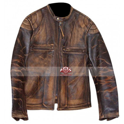 Italian Job Seth Green (Lyle) Distressed Leather Jacket