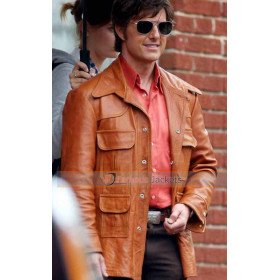 Mena Movie Tom Cruise (Barry Seal) Trench Style Leather Jacket