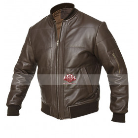 Mens Vintage Retro Bomber Brown Leather Jacket