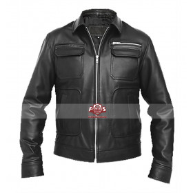 Modern Mens Military Leather Bomber Jacket