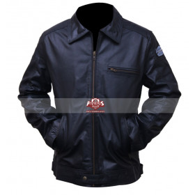Need For Speed Aaron Paul Black & Blue Leather Jacket