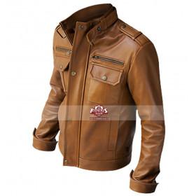 Nero Slim Fit Brown Leather Jacket