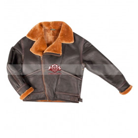 Nicolas Cage Shearling Winter Flying Fur Collar Jacket