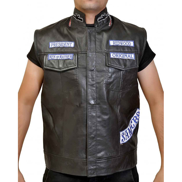 Sons Of Anarchy Jax Teller Motorcycle Leather Vest Uk
