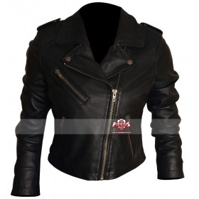 Motorcycle Short Black Jacket For Women