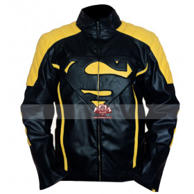 Superman Smallville Yellow Stripes Black Leather Jacket