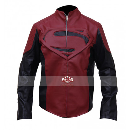 Superman Smallville Designer Red Leather Jacket