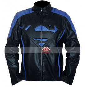 Superman Inspired Smallville Black/Blue Leather Jacket UK