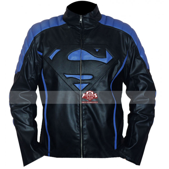 Inspired Smallville Black/Blue Leather Jacket UK