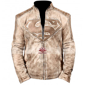 Superman Inspired Blue/Brown Waxed Leather Jacket