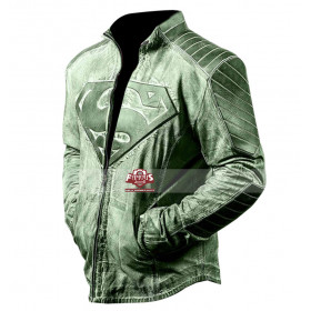Superman Distressed Denim Style Green / Red Jacket