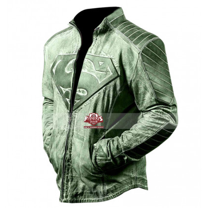 Superman Distressed Style Green / Red Jacket