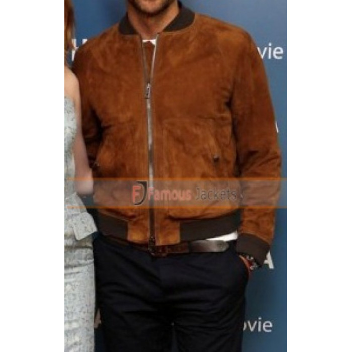 Premiere Bradley Cooper Brown Bomber Suede Leather Jacket