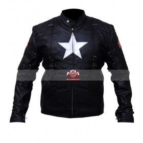 Captain America 2 Winter Soldier Chris Evans Black Leather Jacket Costume