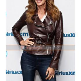 Cindy Crawford Model Biker Leather Jacket