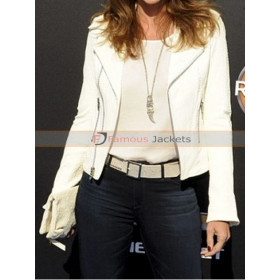Model Cindy Crawford White Leather Jacket