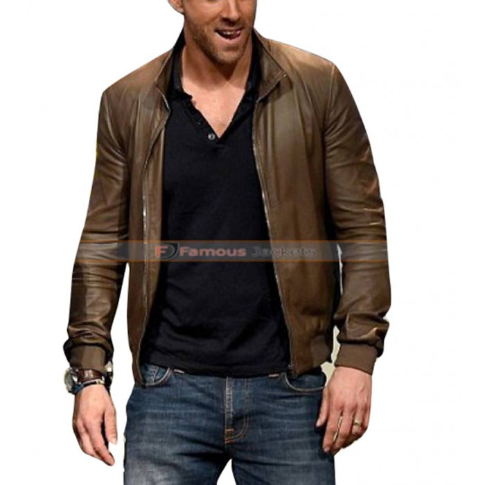 2016 Ryan Reynolds Comic Con Brown Leather Jacket