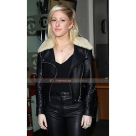 Ellie Goulding Fur Collar Leather Jacket
