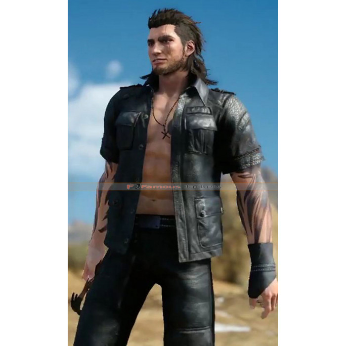 Final Fantasy XV Gladiolus Amicitia Costume Cosplay Black Jacket Game Outfit