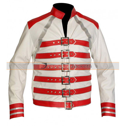 Freddie Mercury Red And White Leather Jacket