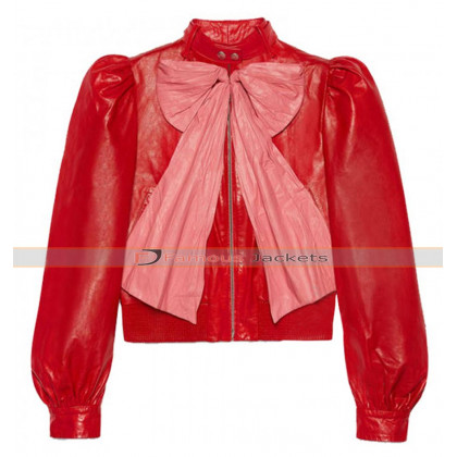 Hilary Erhard Duff Stylish Red Leather Jacket