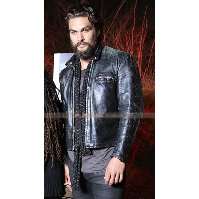 Jason Momoa Uk: Jason Momoa Leather Black Jacket