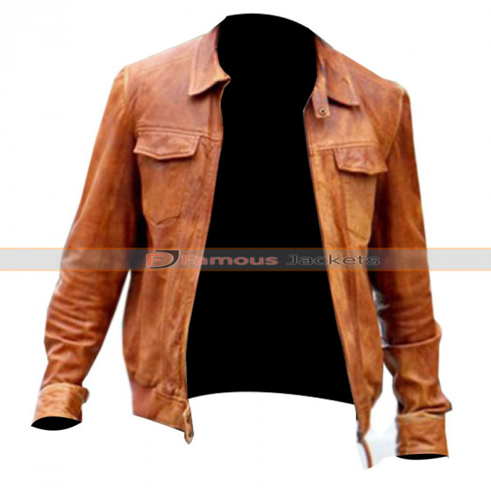 Kellan Lutz Tan Leather Jacket
