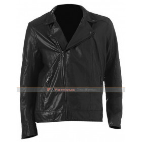 Mens Asymmetrical Black Faux Leather Moto Jacket