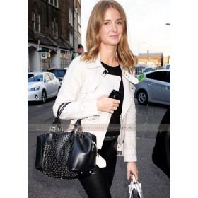 Millie Mackintosh White Biker Leather Jacket