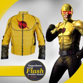 Replica Superhero Reverse Flash Leather Jacket Costume For Sale